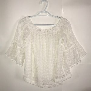 Anthropologie White Lace Off-the-Shoulder Blouse